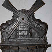 Antique Carved in Wood Spoon Wall Display Rack, Windmill