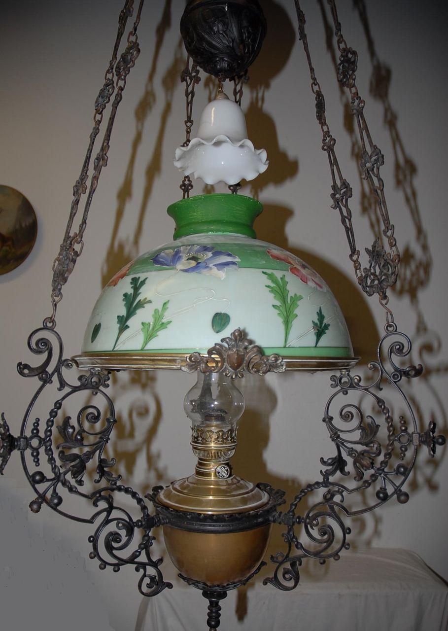 Lamp Chandelier Huge Antique Art Nouveau Iron Brass Fl Hanging Oil