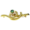 Antique Victorian - Etruscan Revival 19K Cannetille Brooch-Pin - Seed Pearls & Green Paste