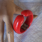 SALE STUNNING Vintage BAKELITE Hinged Bangle Lipstick Red Bakelite