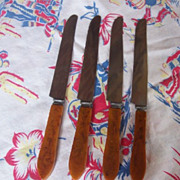 SALE Vintage BAKELITE Kitchenware Flatware Knives Set of 4 Art Deco Design