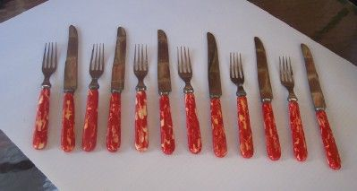 Vintage BAKELITE Kitchenware Flatware Set, Art Deco Design