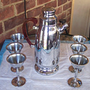 SALE Vintage COCKTAIL Shaker Chrome and Bakelite, 6 Matching Stemmed Goblets, Martini Set Mint