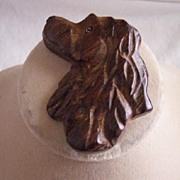 SALE IMPRESSIVE Vintage Brooch Wood Dog Head Cocker Spaniel Carved Deeply