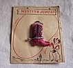ADORABLE Vintage CELLULOID Brooch Cowboy Western Boot Original Card Marked Japan
