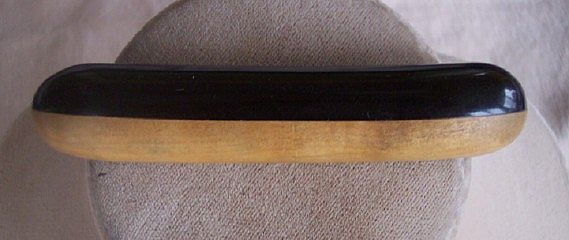 UNUSUAL Vintage BAKELITE and Wood Brooch Bar Pin Style Jet Black Bakelite