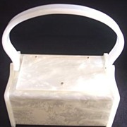 SALE GENUINE RIALTO Vintage Lucite Purse White Marbleized Signed - Adorable Size!