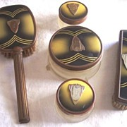 SALE LOVELY Vintage Dresser Set  Vanity Set - Enamel over Brass - Art Deco Design - Five Piece