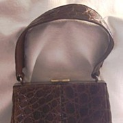 SALE ELEGANT Vintage ALLIGATOR Purse Handbag Chocolate Brown