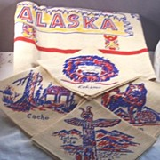 SALE WONDERFUL Vintage STATE Tablecloth ALASKA with Napkins Mint in Box with Original Paper La