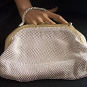 SALE Vintage WHITING AND DAVIS Alumesh Purse with Pearlized Vintage Plastic Frame Mint!