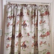 SALE FABULOUS Vintage Cotton Drapes COWBOY WESTERN Motif Pair Mint Condition!