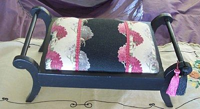 Vintage FOOTSTOOL Mahogany with Vintage Barkcloth Fabric Mint!