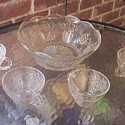 SALE Vintage Glass Punch Bowl Set with Four Cups Grape and Leaf Motif