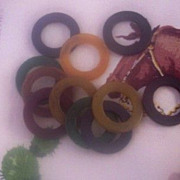 SALE UNUSUAL Vintage BAKELITE Curtain Rings Set of 12 Multi-Colored Bakelite