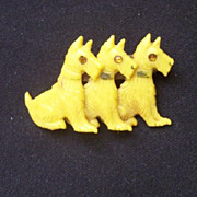 SALE ADORABLE Vintage CELLULIOD Scottie Brooch Three Scotties with Rhinestone Eyes!