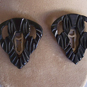 SALE Vintage BAKELITE Dress Clips, Pair Dress Clips, Carved Deeply & Pierced, Art Deco Motif