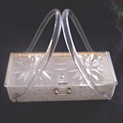 "SALE GILLI ORIGINALS Vintage LUCITE ""Confetti"" Purse - Carved Top - Circa 1950's - O"