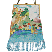 SALE 1920's Beaded Castle Purse Scenic Bag