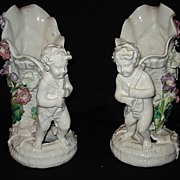 "Early pr 11 1/2"" porcelain cherub vases"