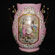 "Early 13"" paris porcelain portrait vase w/ handles"