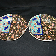 Pr.  japanese porcelain fukagawa bowls w/brown background