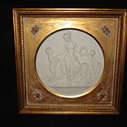 "Early 11 7/8""  round framed parian plaque w/ cherubs"
