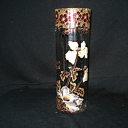 "12 1/2"" Moser glass vase w/heavy enameled flowers"