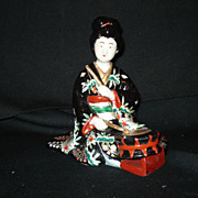 "Early 7 1/4"" japanese Imari handpainted figure w/ drum"