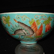 Rare chinese chia ching handpainted porcelain rice bowl w/butterflies