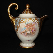 "Early royal vienna porcelain 5 3/4"" teapot w/cherubs"