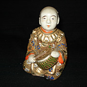 "Early rare 4 1/4"" satsuma figure w/drum"