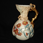 "Early 7 1/4"" floral royal worcester pitcher"