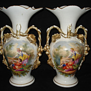 "Early pr 13 1/4"" olde paris porcelain vases"