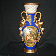 "Rare early 19 7/8"" blue olde paris porcelain portrait vase w/huge handles"
