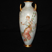 "9 3/4"" Early austrian Handpainted portrait vase"
