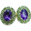 14K Gold Peridot Amethyst Earrings Match Ring available Layaway is available