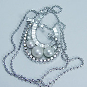 Estate Jewelry 18K White Gold Pearl 1.95cts Diamond Pendant Necklace