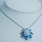 Designer Jewelry Oro Trend 18K White Gold Blue Topaz Diamond Necklace Italy