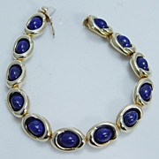 Designer Signed Jewelry Tiffany&Co 18K Yellow Gold Lapis Lazuli Bracelet 33.1gr