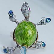 Art to Wear 14K Gold Green Blue Enamel Turtle Ring Diamonds Ruby Topaz Unique