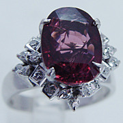 Estate Jewelry Huge 13x9mm Pink Tourmaline Diamond 18K White Gold Large Ring