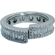 Wedding Anniversary 18K White Gold 2.80ct Diamond Band Eternity Ring Unusual