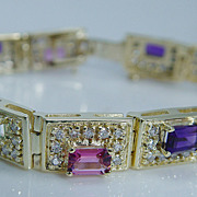 Fancy 18K and 14K Gold Amethyst Aquamarine Tourmaline 2.34ct Diamond Bracelet