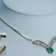 Estate Jewelry 18K and 14K Gold Colombian Emerald Diamond Necklace with Chain