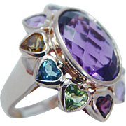 Estate Jewelry Cocktail 14K Rose Gold Huge Amethyst Multistone Hearts Ring