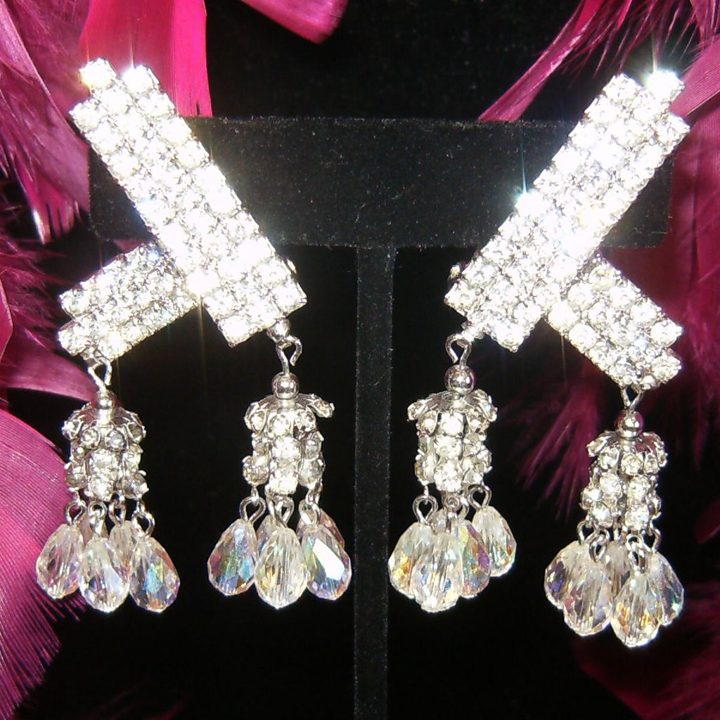 Amazing Vintage Aurora Borealis Crystal / Rhinestone Wrap Earrings