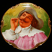 Spectacular Vintage LIMOGES Cavalier Tweaking His Mustache Charger Plate/Plaque