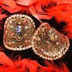 MUSI ~ Massive Huge Aurora Borealis Rhinestone / Foiled Cabochon Goldtone Shoe Clips
