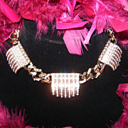 Gorgeous Huge Chunky Vintage Goldtone/Silvertone Rhinestone Bib/Collar Necklace
